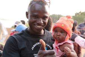 Emile Fitikissou and baby Patricia. Both are father and daughter on and off screen. ©UNICEF Chad/2014/Manuel Moreno