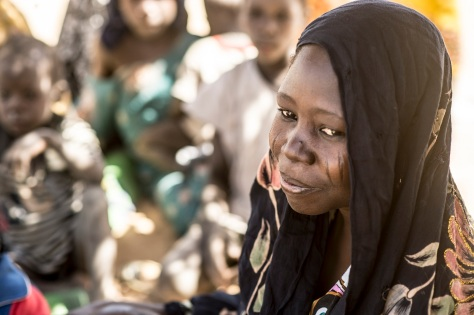 Aicha Garba est originaire du village de Dorom Baga au bord du lac Tchad, côté nigérian.Le matin du 3 janvier, elle a fui son village pour Ngouboua où elle a accouché d'un garçon qui porte le nom du Président de la République du Tchad, Idriss Deby Itno. Elle a été prise en charge par le Centre de Santé du Camp de Bagasola. ©UNICEF CHAD/2015/Cherkaoui