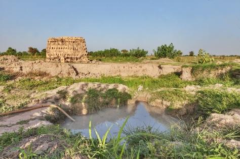 Un point d'eau pollué à Tchad. Les communautés utilisent cette eau pour l'agriculture et l'élevage. Les moustiques préfèrent l'eau stagnante, où ils peuvent pondre leurs œufs. Global Fund/2014/Esiebo