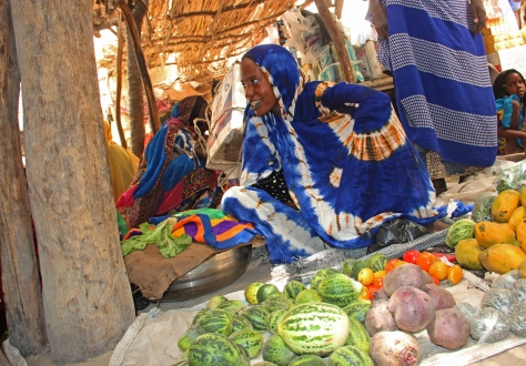 "Zara Gayi is selling fruits and vegetables in the market of Bagasola, ""My husband was riding boats to Nigeria. Since the border closure months ago, there is no work. My children are suffering; we used to have three meals a day, now we can barely afford one. UNICEF Chad/2015/Bahaji"