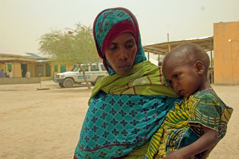 "My child eats only once a day. It is not enough."" Khadidja Adoum lives in the Kanem Region and her daughter was admitted in Mondo health center for the fourth time this year because of malnutrition. UNICEF/Chad/2015/Bahaji"