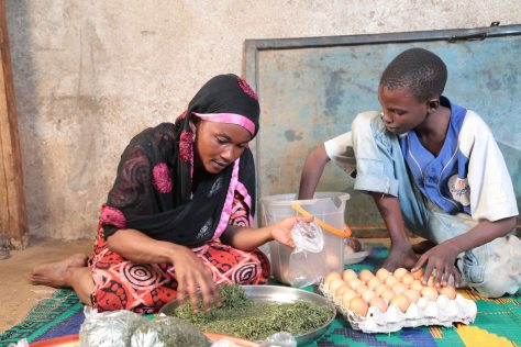 © UNICEF Chad/2015/Gonzalez 15-year old Ahmad Mohammed helps her mother to prepare vegetables and eggs to be sold in the market.